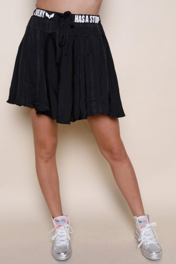 Black Color Fine Fabric Mini Skirt Pants EVERY