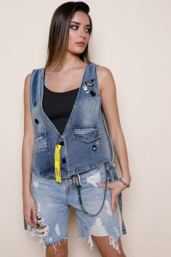 Blue Washed Denim Jacket Vest HAND MADE