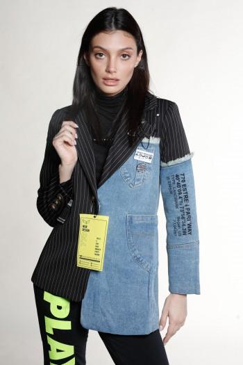 Black And  Denim  Unique  Design Blazer SIMPLE