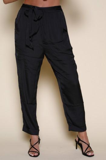 Designed Black Satin Pants PANTS