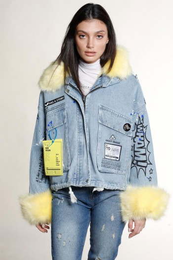 Denim Jacket With Yellow Faux Fur HAND MADE