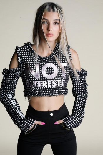 Black and White Plaid Crop Top NOT