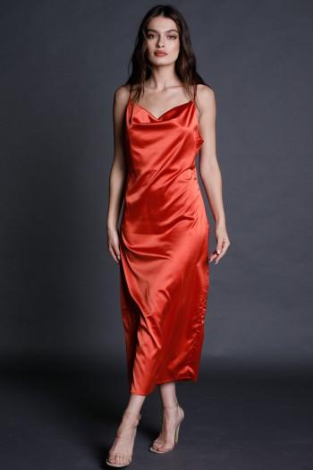 Red Evening Satin Maxi Dress STYLE