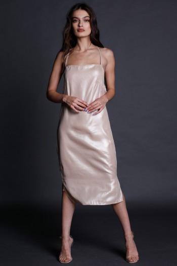 Shiny Beige Evening Midi Dress LOVE