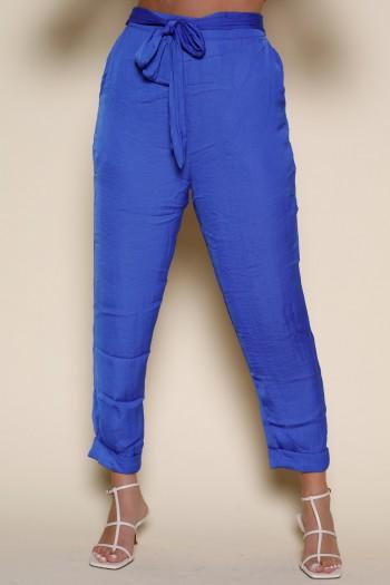 Designed Blue Satin Pants PANTS