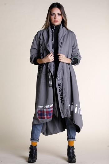 Gray Long Pullover Jacket SEVEN