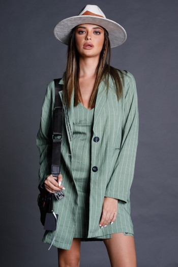 Mint Green Stripe Long Sleeve Blazer Jacket COMFY