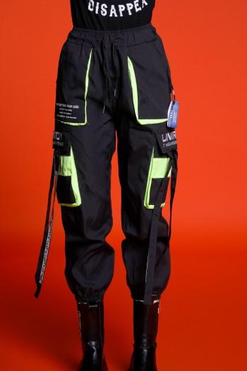 Designed Black Nylon Jogger Pants GREAT