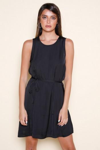 Black Satin No Sleeve Evening Dress ELEGANT