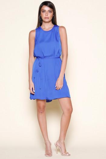 Blue Satin No Sleeve Evening Dress ELEGANT