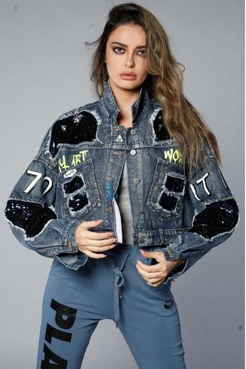Unique Design Denim Jacket With Sequins WORLD