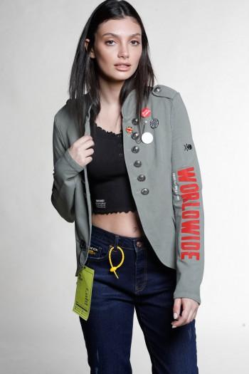 Unique Olive-Grey Pullover Blazer Jacket WORLDWIDE