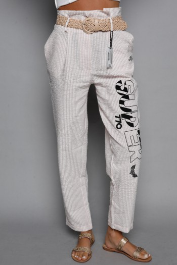 Designed Light Pink And White Stripes Pants SUPER