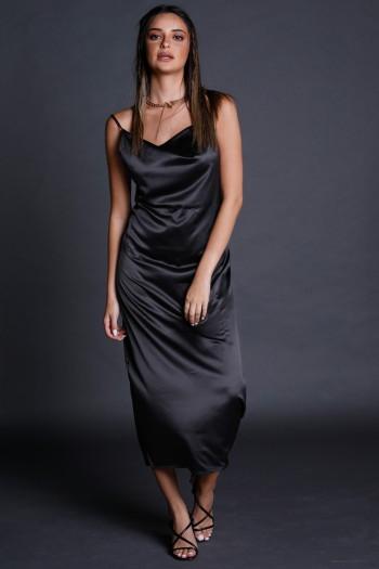 Black Evening  Satin Maxi  Dress STYLE