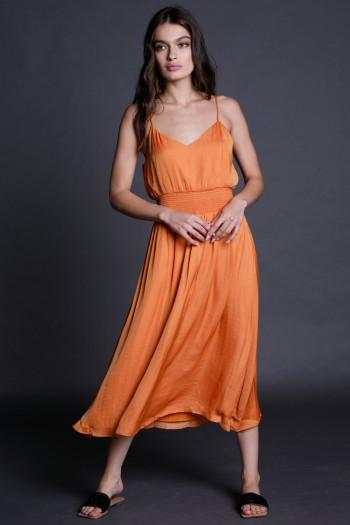 Orange Evening Midi Dress CHIC