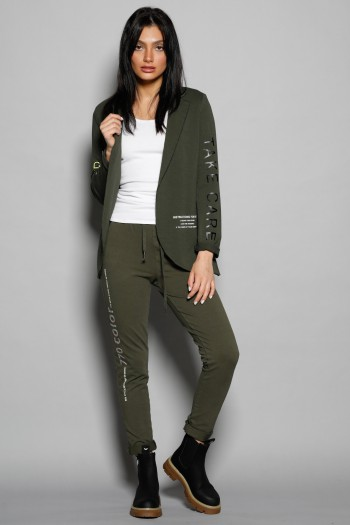 Olive Green Colors Blazer Jacket and Pants Two Piece Set ADDICTED