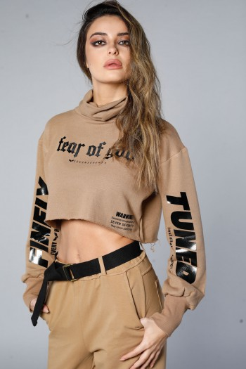 Long Sleeve Brown Turtle Neck Crop Top TUNED