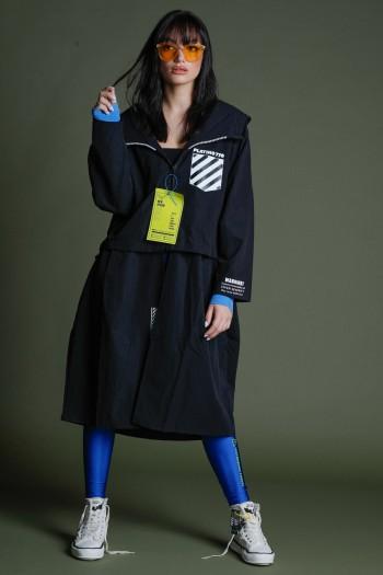 Long Black Long Designed Coat 770