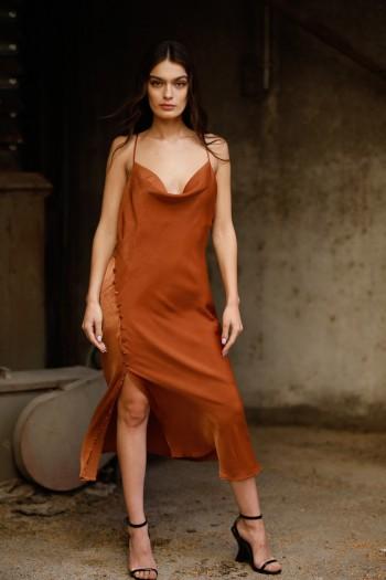 Copper Brown Evening Satin Midi Dress CHIC