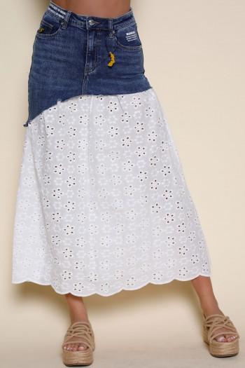 Boho Style Denim And White Lace Skirt WARNING