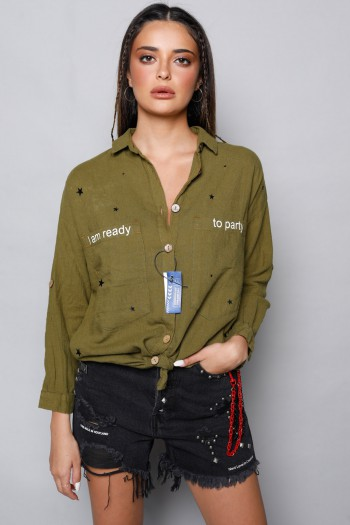 Olive Green Long Sleeve Buttoned Up Top READY