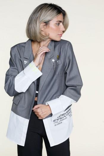 Gray And White Unique Design Blazer WALLET