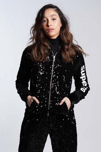 Black  Sequins Zipper Jacket SUPER 770