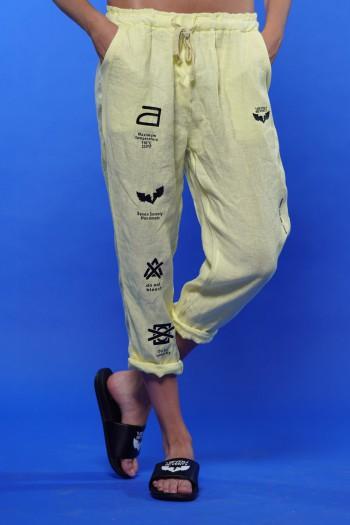Designed Yellow Linen Pants MAXIMUM