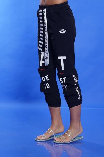 Designed Black Cotton and Nylon Pants FACT