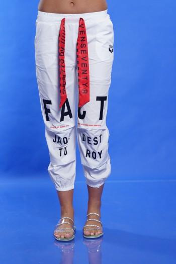 Designed White Cotton and Nylon Pants FACT