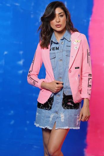 Decorated Pink Color Jacket  LA