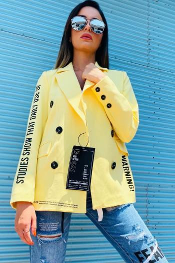 Yellow Blazer Jacket WARNING