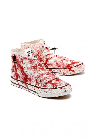 Red And White High  Sneackers SKULL