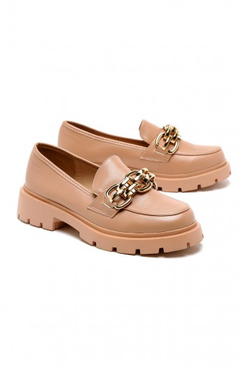 Light Pink Designed Chain Oxford Shoes STYLE