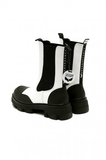 Black And White High Cut Faux Leather Boots BLACK & WHITE