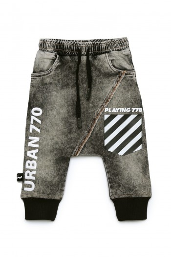 Designed Washed Gray Kids Baggy Denim Pants URBAN