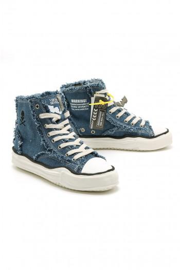 Denim Blue High Cut Sneakers WARNING