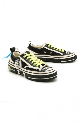 Black and Neon Yellow Low Cut Sneakers STAR