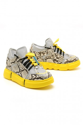 Yellow And Black Hidden Heel Sneakers LIMITED