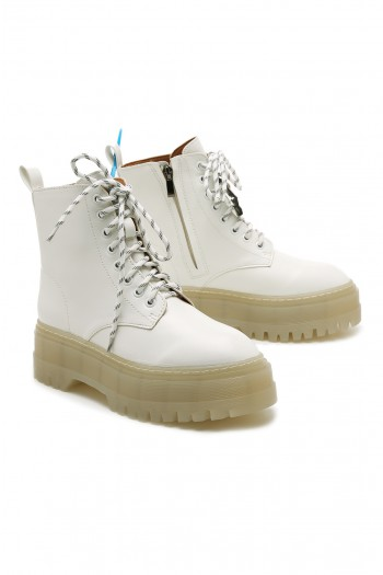 White High Cut Boots WHITE