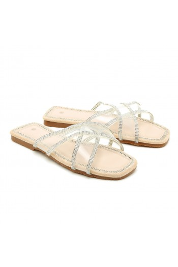Opened Clear X Straps Beige Flip-Flops DIAMOND