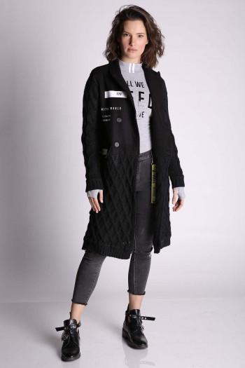 Black Knitted Coat WORLD