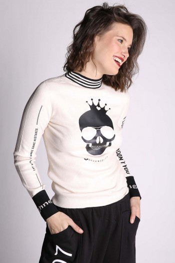 Ivory Turtleneck Skull Shirt NEW THINGS