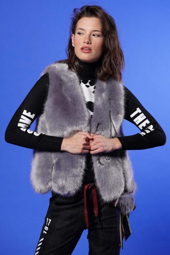 Grey Faux Fur Vest EDUCTION