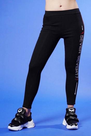 Black Leggings Side Stripe SPARK