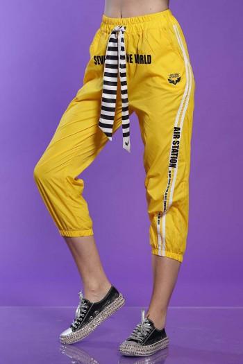 Designed Yellow Nylon Pants WORLD