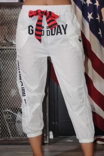Designed White Nylon Pants GOOD DAY