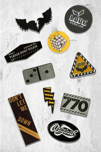 A Set of 10 Pins  Black An Yellow Colors LOVE