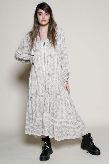 Beige Snake Print Wide Maxi Dress INSTRUCTIONS
