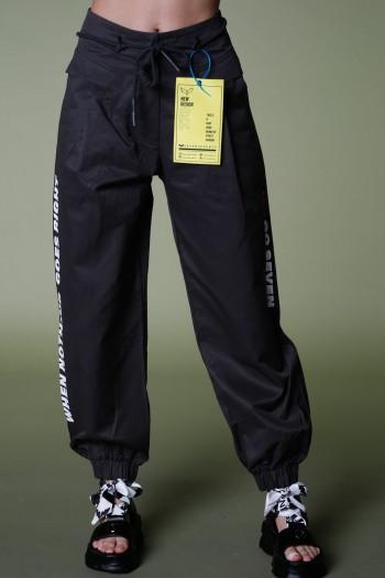 Black Cotton Designed  Pants GO SEVEN